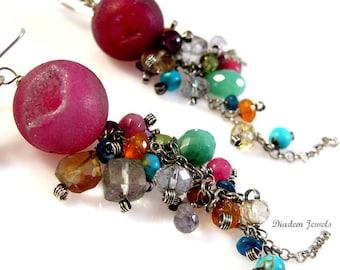 Sterling Silver Rainbow Gemstone Earrings Rock Candy