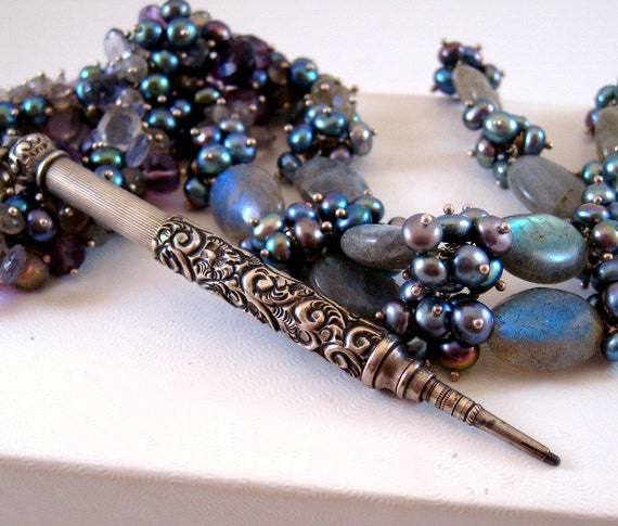 Antique Victorian Pencil Necklace- silver, amethyst, pearl, iolite, labradorite