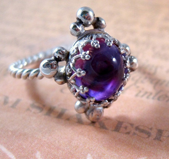 Sterling Silver Amethyst Renaissance Ring Your size