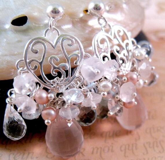 Sterling, Freshwater Pearl, Rose Quartz and Aquamarine Earrings