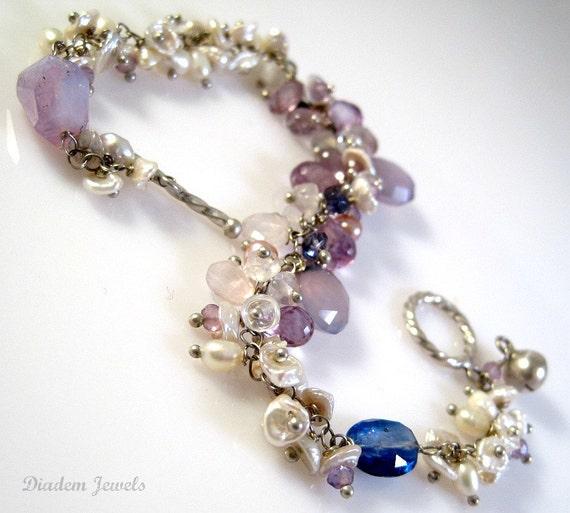 Silver Bracelet Gemstone Jewelry Amethyst Bracelet Pearl Bracelet