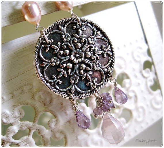 Fine Silver Filigree Freshwater pearl flower necklace Precious Metal Clay