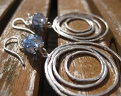 Blue glass, sterling silver and abstract circles earrings - Drops in the Ocean