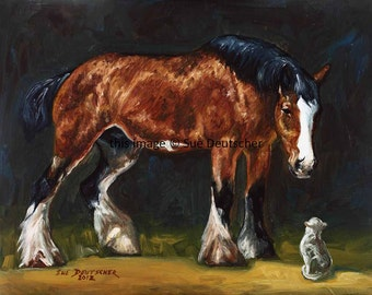 Clydesdale and Cat print from painting