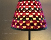 Crochet Rose Pink and Green Lampshade