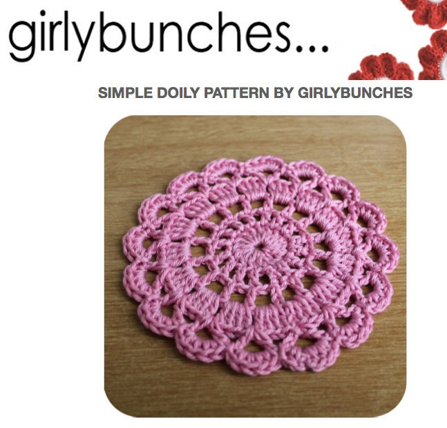 Free Crochet Patterns For Doilies For Beginners : Girlybunches Simple Crochet Doily PDF Pattern