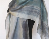 Dove Grey flower hand painted silk scarf