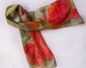 Hand painted silk scarf-Poppies and Grass