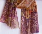 Hand painted silk scarf Autumn Spirals MADE TO ORDER