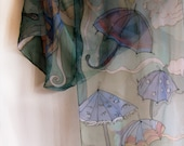 Hand painted silk chiffon scarf The violet umbrellas OOAK Free Shipping