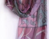 Decorative silk scarf. Art Deco style scarf. Hand painted scarf. Ginkgo  leaves and Stripes in purple and green Custom Order to Gretchen