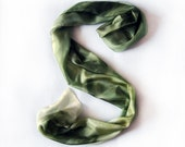 Hand painted silk scarf Pastel collection Olive green vase OOAK by Dimo Balev
