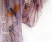 Hand painted silk chiffon scarf -The butterfly's in french lilac mode -Mothers day gift-OOAK-