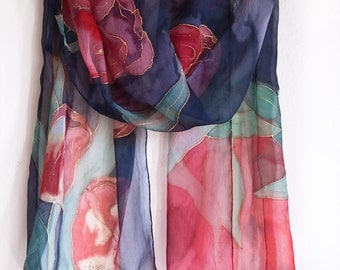Black hand painted scarf with red tulips. Hand painted silk chiffon scarf Floral scarves Red black scarf shawl painted by hand Made to order