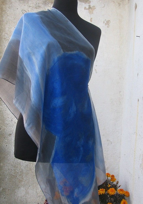 Blue grey silk scarf paint by hand. Hand painted silk scarf by Dimo Balev French Ultramarine flower with a long leaf