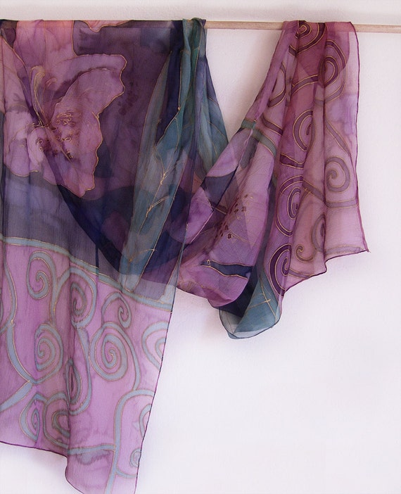 Hand painted silk chiffon scarf Pink flowers and Spirals MADE TO ORDER
