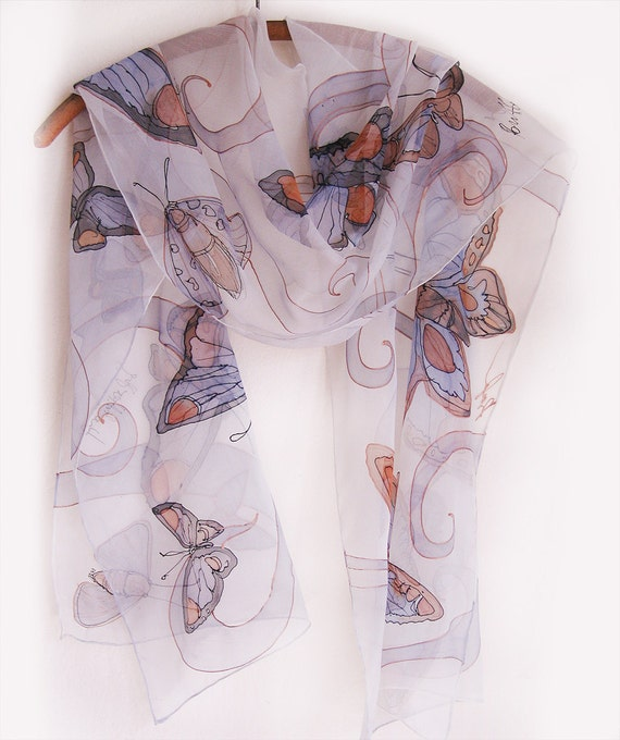 Hand painted silk scarf Copper Butterfly Silk chiffon scarf painted by hand Painted scarves Holidays gift Silk painting Klara MADE TO ORDER