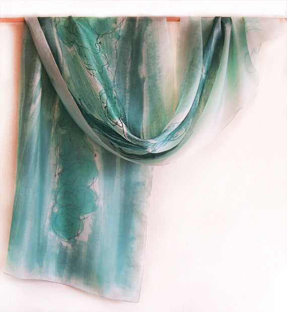 Hand painted silk scarf Mint Flowers -Abstract flowers in minty-painting on silk by Dimo