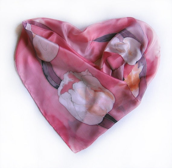 Unique hand painted silk scarf- Pink Tulips/ Christmas gift for mom/Long fashion scarf Floral scarves painted Woman accessory pastel palette