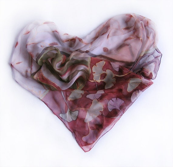 Burgundy hand painted scarf. Ginko Biloba silk chiffon scarf. Ginko leaves in light pink and purple. Heart silk scarf  MADE TO ORDER