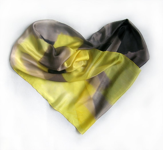 Hand painted silk scarf by Dimo -Yellow grey composition second theme