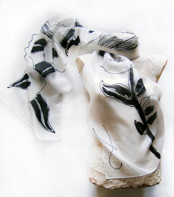 Hand painted silk scarf Black and White collection 1  best gift for Mothers day RESERVED for YIN QIN