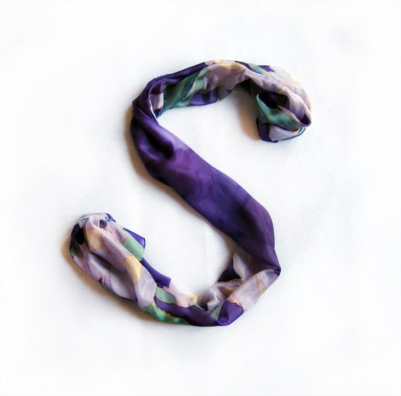 Iris garden hand painted scarf. Floral dark purple silk shawl. Long fashion silk scarf. Mothers day gift OOAK