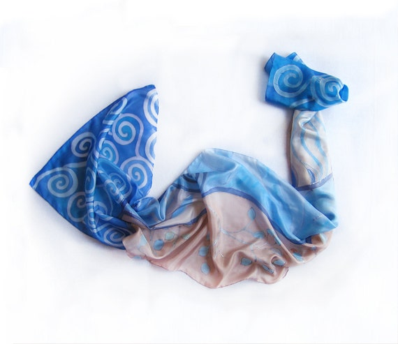 Hand painted silk scarf-Handpainted silk scarf-Azure Spirals and Buds - Blue hand painted silk scarf   Mothers day gift
