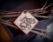 Wood Burned Pixie Dragon Pendant