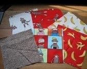 Sock Monkey Quilting Fabric Squares       How Cute
