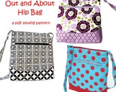 Out and About Hip Zipper Bag, immediate download of pdf sewing pattern- free shipping