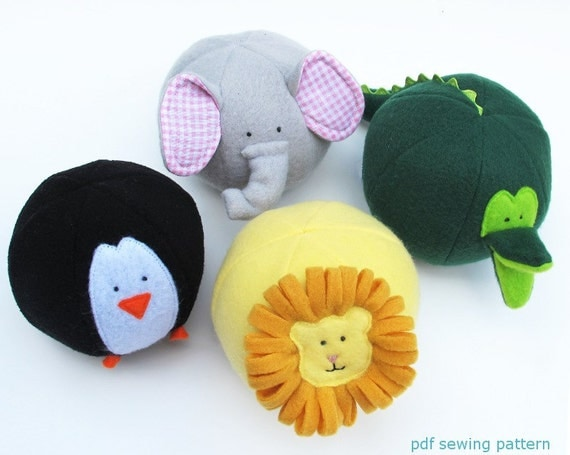 Zoo Friends Toy Balls- PDF sewing pattern - IMMEDIATE DOWNLOAD