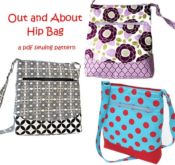 Free Purse Patterns To Download : Out and About Hip Zipper Bag immediate download of by patternplay