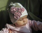 CUTE FLOWERY HAT for infant, toddler, baby, girl - Little Elegance ( made to order in sized 6-12m, 12-24m, 2-3T, 4-7 years)