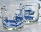 SALE Anchor Hocking Winter Scene, Snow & Trees Clear Glass Mugs