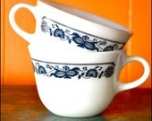 RESERVED SALE Vintage Pyrex Corning Ware Old Town Blue Mugs Set of 2
