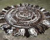 Moose Tracks - Round Throw Rug with Raw Ends