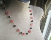 Rose Pink Coffee Brown Pearl Sterling Silver Wire Wrapped Cynthia necklace Womens Gift