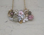 Collage necklace Vintage brooch Pink Gold Rhinestones Heart Flower Bee Shabby Chic Crystal Wedding Bridesmaid
