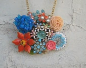 Orange Blue Turquoise Vintage brooch Collage necklace Assemblage Flower Power Enamel Shabby Chic OOAK