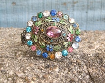 Vintage Brooch Multi Colored Gems Chunky Cuff Bracelet Wrist Corsage