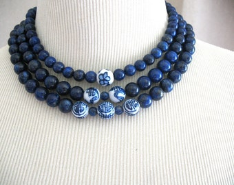 Lapis Dark Blue Navy Asian Chinese Symbols Mirin triple strand necklace