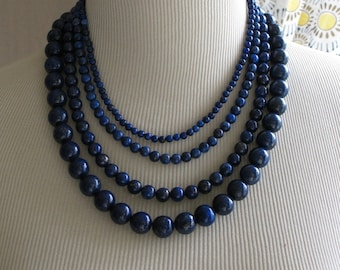 "Lapis Navy Midnight Blue Multi Strand  Layered Necklace  ""Starry Night """