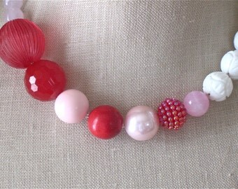 Raspberry Red Pink White vintage bead necklace Valentines Day