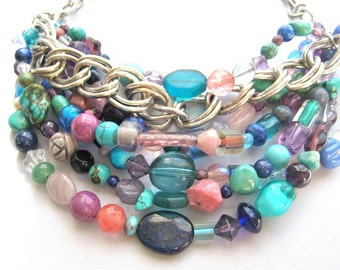 Chunky Multi Color Chains Beaded Necklace,Layered Hand Made Silver Chains Bib Jewel Tones Beads,