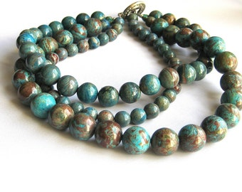Chunky Blue Brown Teal Triple Strand Beaded Necklace
