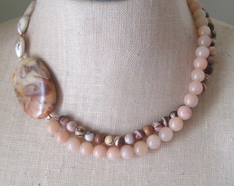 Serengetti. Natural Stone Beaded double Strand necklace, Picture Jasper necklace, Neutral Colors Beads