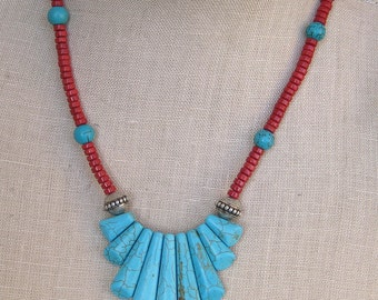Turquoise Trail Red Coral and Turquoise necklace