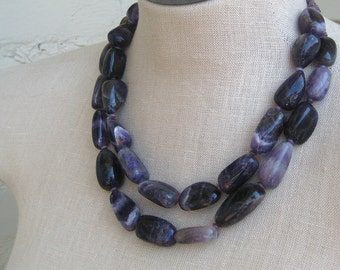 Chunky Amethyst Double Strand Necklace, Sterling Silver
