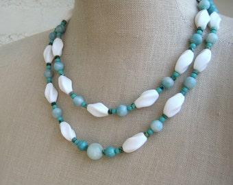 Simone.  Double Strand Vintage Beaded Necklace Turquoise White, Milk Glass Beads